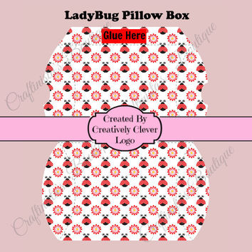 Printable Pillow Gift Box, LadyBug Pillow Box, Instant Download, Immediate Download, Treat Box, Party Favor, Lady Bug Party Decor