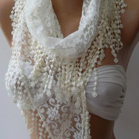 Pearl White - Elegance  Shawl / Scarf with Lacy Edge,,,,