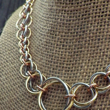Mixed metal graduated chainmaille necklace in aluminum, copper and brass; chainmaille jewelry; chain maille necklace; mixed metal necklace