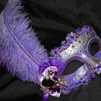 Shades of Purple Feather Masquerade Mask