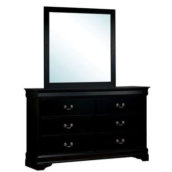 Corella Contemporary Dresser and Mirror Set in Black