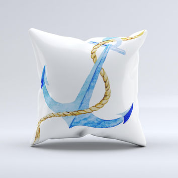 The Painted Blue Summer Anchor ink-Fuzed Decorative Throw Pillow