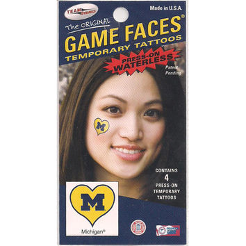 Game Faces University of Michigan Heart Block M Temporary Tattoos