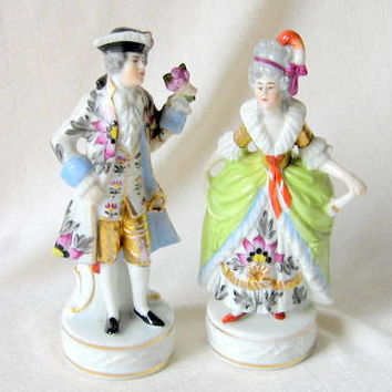 Antique 1800s French Porcelain Pair Figurines Chelsea Mark by Edme Samson
