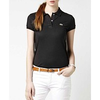 hot sale lacoste women polo shirt 100 cotton top