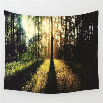 Evening Forest Meditation Wall Tapestry