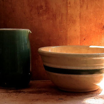 Vintage Yellow Ware Mixing Bowl - Green and White Banded - Serving Dish - Yellowware Pottery - Farmhouse Country Rustic Decor