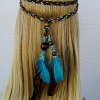EARTH BLUES braided hippie boho native feather headband brown turquoise