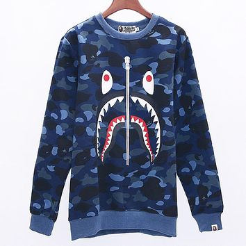 Bape Aape Autumn And Winter Fashion New Shark Print Camouflage Women Men Hooded Long Sleeve Sweater Blue