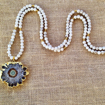 Gold Edged Amethyst Quartz Stalactite Geode Slice Pendant White Howlite & Gold Pyrite Beaded Necklace