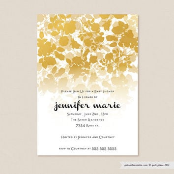 Audrey Gold  Printable Invitation 5 x 7 Card by gabipress on Etsy