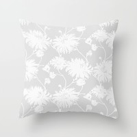 White Floral Poms Throw Pillow by All Is One