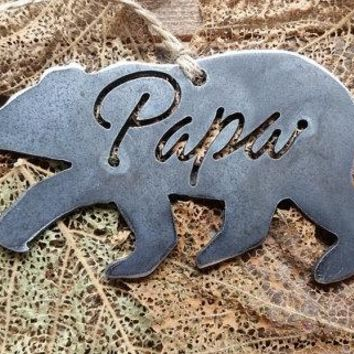 Papa Bear Rustic Raw Steel Ornament