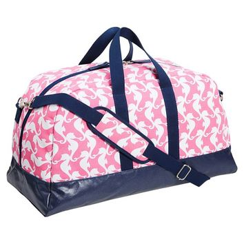 Cape Cod Sleepover Duffle Bag, Pink Seahorse