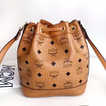 MCM Tide brand female classic print drawstring bucket bag shoulder Messenger bag