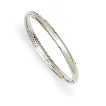 14kt White Gold Sleek and Glossy 5mm Wide Baby Bangle Bracelet
