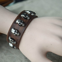 Skull bracelet,Leather Bracelet, ,Retro bracelet,Adjustable Bracelet, Black/Brown bracelets,Punk Style