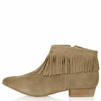 BLINKED Fringed Ankle Boots - Taupe