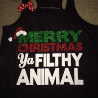 Merry Christmas - Ya Filthy Animal - Christmas Shirt - Christmas Clothing -  Ruffles with Love - Racerback Tank - Womens Fitness - Workout Clothing - Workout Shirts with Sayings
