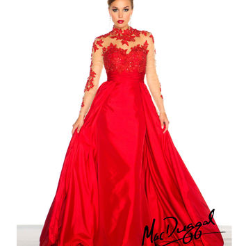 (PRE-ORDER) Mac Duggal 2014 Prom Dresses - Red Vintage Inspired Long Sleeve Prom Gown