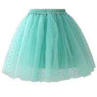Polka Dots Tulle Skirt in Mint Blue Blue S/M