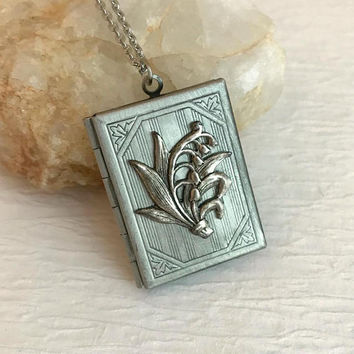 Lily of the Valley Book Locket, vintage silver floral rectangle engraved antique pendant picture birthday anniversary romantic gift for her