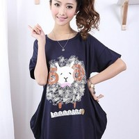 Kawaii Lucky Sheep Embroidery Loose Short Sleeve T-shirt - M L XL from Tobi's Finds