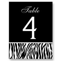 Black and White Zebra Wedding Table Number Card Online Personalize