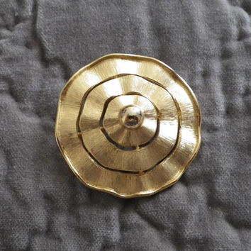 Modern Stylized Flower Gold Toned Brooch, Lapel Pin,Large Gold Toned, Brooch, Modern Concentric Circles Pin Brooch, Mad Men 1950's Style