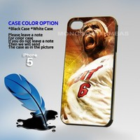 Lebron James Miami Heat, Print on Hard Cover iPhone 5 Black Case