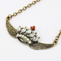 Vintage Rhinestone Crown&Wings Pendant Necklace at Cheap Vintage Jewelry Store Gofavor