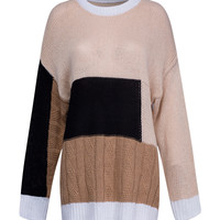 Brown Contrast Long Sleeve Knitted Jumper