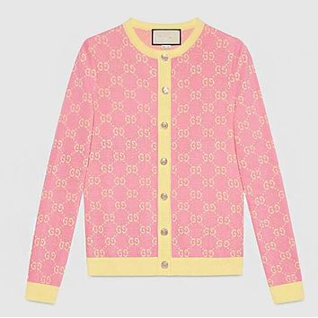 GUCCI Autumn Trending Women Stylish GG Letter Jacquard Long Sleeve Round Collar Pink Knit Cardigan Jacket Coat Sweater