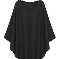Black Plus Size Kimono Sleeves Flounce Blouse
