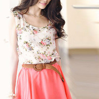 Floral Sleeveless A-Line Pleated Chiffon Mini Dress