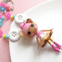 Summer Necklace. Pink Scoops Waffle Cone Lalaloopsy Sweet Harajuku Style Dessert Ice Cream Biscuit Skirt  Doll