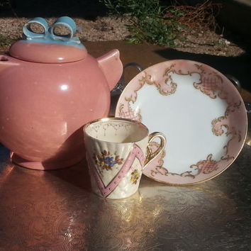 Pretty in Pink Mixed Vintage 3pc Pink Tea Set
