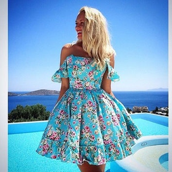 2015 New Fashion Women Print Lace Dress Summer Beach Dress Spaghetti Strap = 1901179268