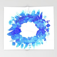 Blue Floral Pattern 01 Throw Blanket by Aloke Design