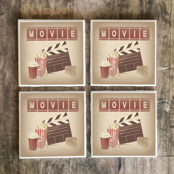 Drink Coasters, Vintage Movie Cinema Room Handmade Ceramic Tile Coasters, Popcorn, Soda, Movie Tickets, Clapper Board, Fun Cinema Home Decor