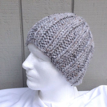 Mens chunky beanie - Mens accessories - Knit wool blend hat - Teens knitted hat