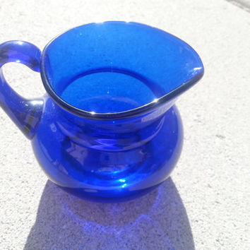 """Vintage Cobalt Creamer, Dark Blue Glass Pour, Handled Wide Mouth Creamer Bowl, Small  2 1/2"""" by 3 1/2"""""""