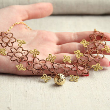 Floral lace necklace, bronze and gold, handmade tatting lace, sparkling necklace, fall winter fashion