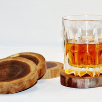 Coasters Set of 4 Black Walnut Log Slices Candle Holders Center Pieces Rustic Weddings Man Cave Decor