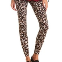 Cotton Leopard Printed Leggings by Charlotte Russe - Brown Combo
