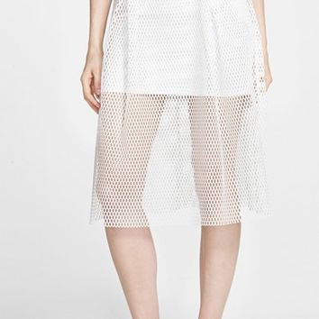Junior Women's Blu Pepper Mesh Midi Skirt