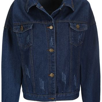 Streetstyle  Casual Distressed Single Breasted Denim Bomber Jacket