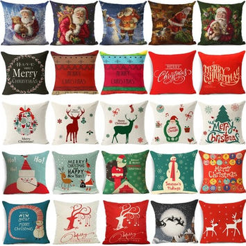 "18"" Cotton Linen Decorative Pillow Case Christmas Pattern Cushion Cover Sofa Square Waist Pillow Cover [8270467329]"