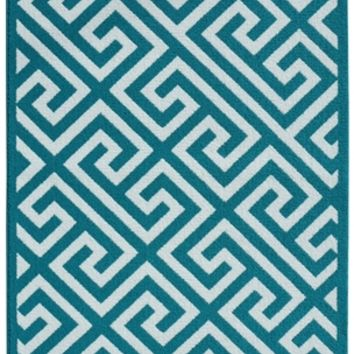 Greek Key College Rug - Teal and White - Dorm Carpets For Girls Cute Dorm Decor