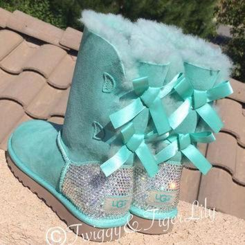 ICIK8X2 Swarovski Crystallized Ugg Boots - Bling Surf Spray Bailey Bow Uggs with Swarovski Cry